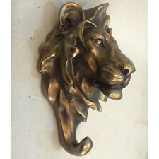 LION Bronzo wall coat hook scultura statua arte contemporanea animale 39403