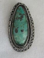EARLY MADE IN ISRAEL HANDMADE 935 STERLING WIREWORK & EILAT CABOCHON PIN