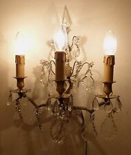 Large Antique French Bronze TRIPLE ARM Wall Light Lead Crystal Spike, Drops 1860