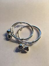 NEW 2 PCharms 925 Sterling Silver PLATED Baby/Kids Bangle Bells Bracelet--C2