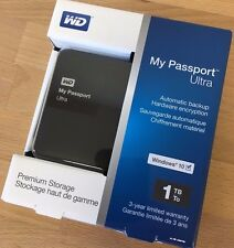 WD 1TB My Passport Ultra USB 3.0 Secure Portable Hard Drive (Black), NEW