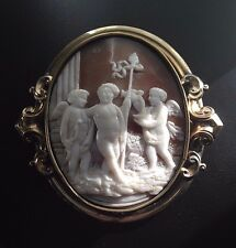 Fabulous Large Antique Shell Cameo Brooch with Scene of Cupid, Young Bacchus