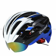 RockBros Cycling Helmet MTB Road Bike Helmets Size L/XL with Goggles Blue White