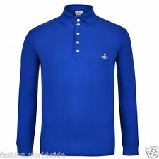 Authentic VW Vivienne Westwood MAN Orb Azzuro Blue Long Sleeved Polo Shirt L