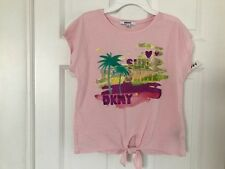 DKNY NWT Girls Tee Top Shirt T-Shirt Logo Pink Sun Shine Glitter XL 16