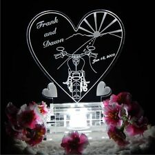 Motorcycle Heart Lighted Wedding Cake Topper Acrylic Cake Top Biker Personalized