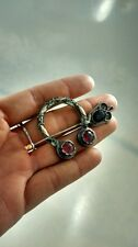 Very nice antique Scottish silver purple stone pin brooch