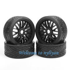 4 PCS Flat Off Road Wheel Tires Tyre & Rim For HPI HSP Traxxas 1:8 RC Buggy Car
