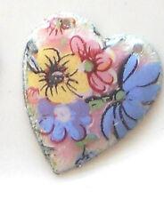 #1577K Vintage Enameled Hearts Connectors Heart Flowers Floral enamel NOS Rose