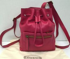 NWT FOSSIL Vickery Drawstring Mini Leather Backpack Purse Handbag Bright Pink