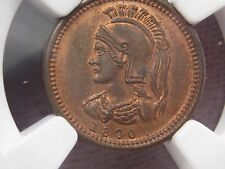 Rare BU Quebec Token; 1870 (dated) ANTICOSTI ISLAND - CANADA. 1/8p. NGC MS63 RB