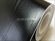 "24""x60"" Black Wood Grain Textured Vinyl Wrap Sticker Decal Sheet Film Car Bike"