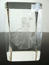 """Disney Snow White 3D Laser Etched Glass Figurine Paperweight. Approx 3"""" Tall"""