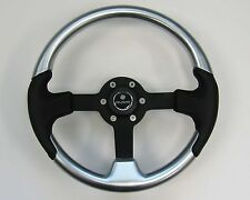 New OEM Gussi M525 Boat Steering Wheel Silver with Black Spoke