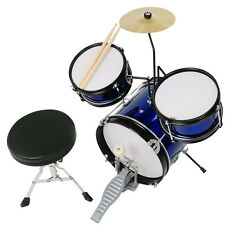 Drum Set 3 Piece Junior Complete Child Kids Kit With Stool Sticks Seat Blue