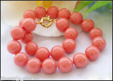 Natural Genuine 10mm Coral Pink South sea shell pearl necklace 18''AA