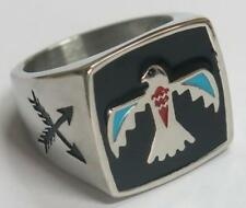 NATIVE PHONIEX SYMBOL STAINLESS STEEL RING size 7 silver metal S-511 fire bird