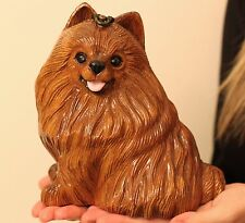 TIMMY WOODS POMERANIAN PUREBRED HAND CARVED DOG PURSE CLUTCH PUPPY MINAUDIERE