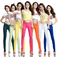 Womens Stretch Candy Pencil Pants Casual Slim Fit Skinny Jeans Trousers Stylish