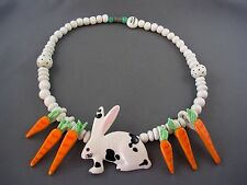 c.1970's Vtg Designer RUBY Z BEAN FINNERAN Rabbit & Carrots Ceramic Necklace