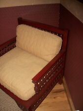 Vintage Wooden Custom Designer ARM CHAIR Cushioned Wide-Spindle Back+Arms-c1900