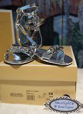 NIB MICHAEL Michael Kors SIZE 6, WYNNE CHAIN Jelly Sandal In SILVER Rubber $99