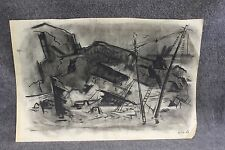 Lamar Dodd One Of A Kind Black & White Charcoal From His Personal Home w/ COA