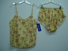 USA Made Nancy King Lingerie Camisole w/ Tap Pant Size 1X Yellow Multi #204C