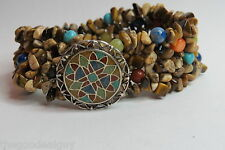 CAROLYN POLLACK STRETCH BRACELETS 925 SILVER RELIOS TURQUOISE & MULTICOLOR BEADS