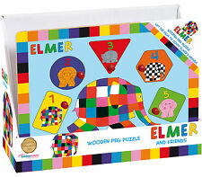 Rainbow Designs ELMER WOODEN PEG PUZZLE Baby/Toddler/Kids Activity Toy Shapes BN