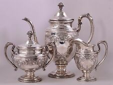 Authentic Towle Sterling Silver Coffee Pot, Sugar Bowl, and Creamer Set-No Mono