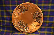 Collectible A. Gilles Mid Century Copper Wall Plate / Plaque Flowers Canada
