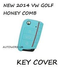 VW VOLKSWAGEN GOLF MK7 a nido d'ape auto Flip Caso Chiave di protezione della pelle coprire L BLU