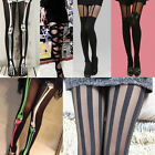 Sexy Women Fishnet Tattoo Sheer Mock Pattern Jacquard Pantyhose Tights Stockings
