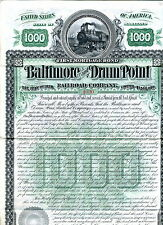 1889 Baltimore & Drum Point Railroad Company Stock - 1000 shares
