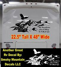 Mountain Scene with eagle Decal for rv travel trailer camper