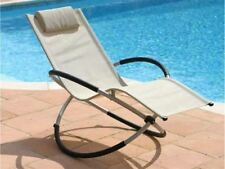 New Sun Lounger Moon Rocker Cream Outdoor Gravity Folding Garden Chair Hammock
