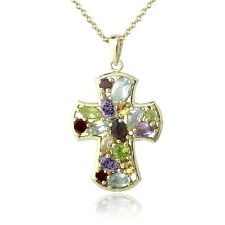 18K Gold Plated 3.25ct Multi Gemstone & Diamond Accent Cross Necklace