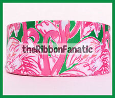 """3 yds 3"""" Lilly Fabric Inspired Pink Colony Flamingo Grosgrain Ribbon"""