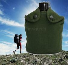 Outdoor Sport Military Army Aluminum Stainless Steel Canteen Cup Bottle + Cover