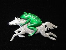 """JJ"" Jonette Jewelry Silver Pewter 'FROG & Horse in the WIND' Pin"