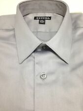 $40 GEORGE Men's SOLID GRAY REGULAR FIT CASUAL DRESS SHIRT SIZE 14-14.5 32/33 S