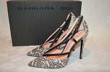 "$715 Sz 37.5-7 Barbara Bui Gray Black Snakeskin Strappy Pumps 4.5"" Heels-Worn 1X"