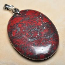 "Extremely Red Natural Bloodstone 925 Sterling Silver Clasp 2"" Pendant #P12199"