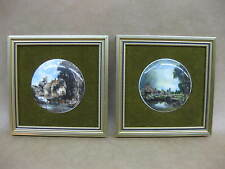 Pair Vintage Crown Staffordshire Framed Porcelain Wall Plaques ~ J. Constable ?