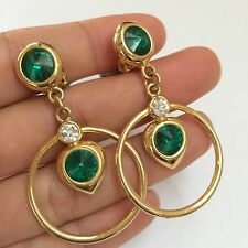 Modernist Gold Tone European Vintage Green Emerald Drop Dangle Clip On Earring