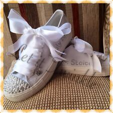 Bridal Wedding Trainers/Pumps Size 2-8 Personalised & Customised