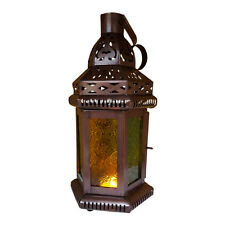 Set of 5 - Green & Yellow Glass Moroccan Lantern, Candle Holder