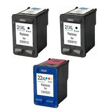 3 cartuchos gen impresora XL HP21 HP22 Deskjet f370 f350 f2212 f375 f380 f385 HQ