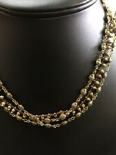 La Vie Gold With Blue Crystal Triple Stranded Necklace By Catherine Popesco